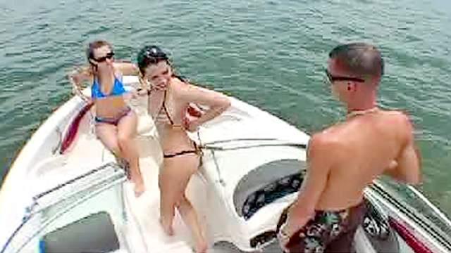 Beach, Bikini, Blowjob, Boat, Brunette, Outdoor, Threesome