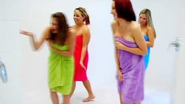 Girls in towels give handjob