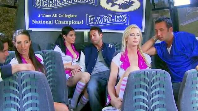 Cheerleader group sex on a bus