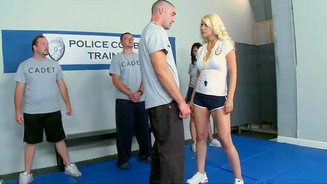 Police cadet fucks training babe