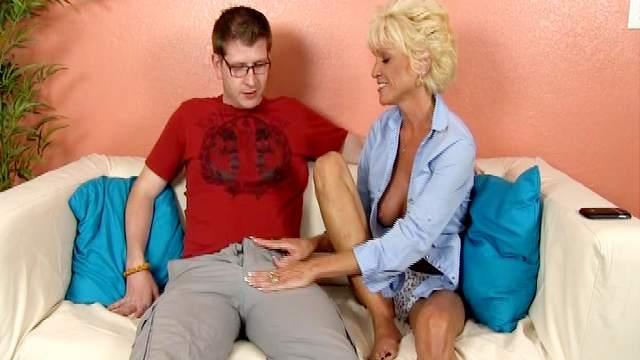 Big dick, Blonde, Cumshot, Fake tits, Handjob, Mature, Mom, Short hair, Sofa, Tanned, Trimmed pussy