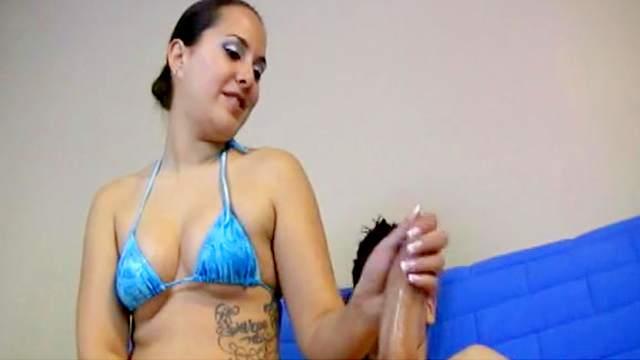 Brunette is wanking that hard big dick