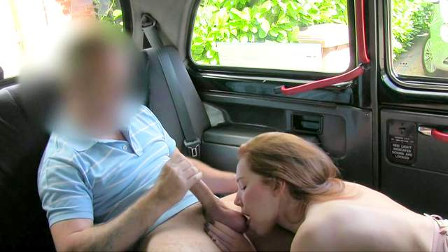Sweet blonde Candi is giving a blowjob in the taxi