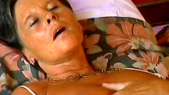 Tanned pornstar granny was fucked in her shaved pussy