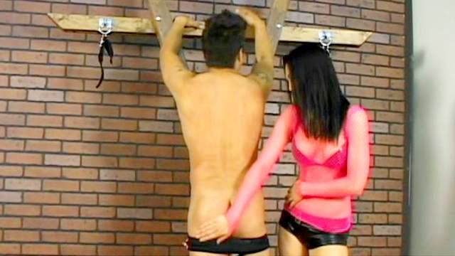 Mistress Victoria Sin is torturing enslaved dude