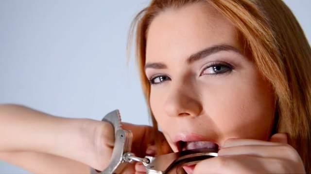 European babe Marina Visconti is sucking a dildo