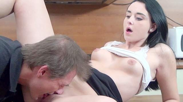 Brunette was fucked by that dude after upskirt