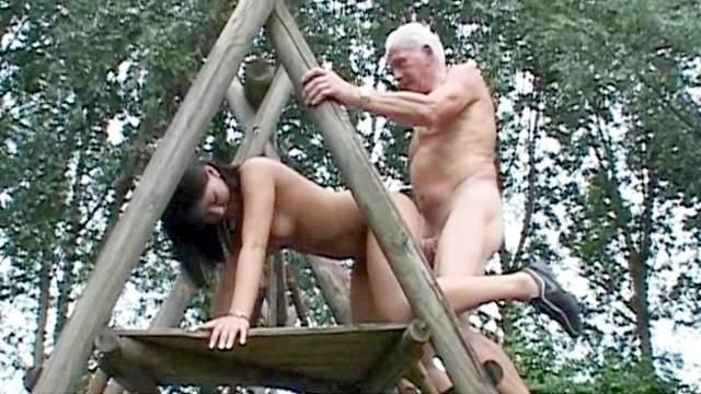 Rita and senior Johyan are fucking outdoors