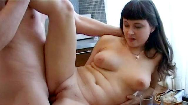 Busty Russian brunette Mika fuck in her trimmed puss