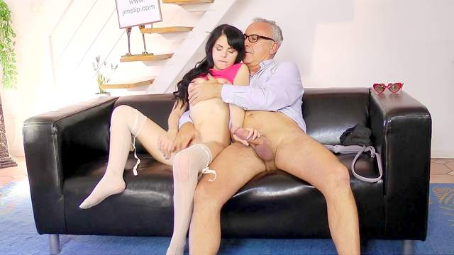 Old man fuck with a hardcore brunette Jessica