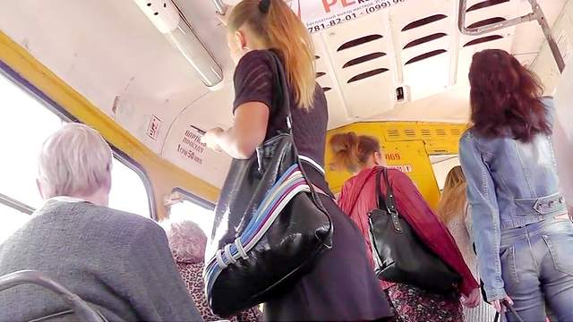 Beauty being upskirted in the bus