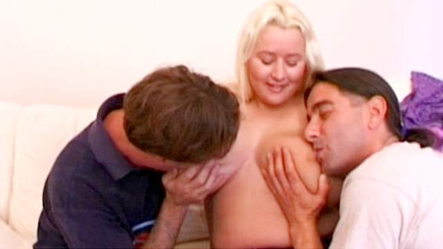 Very fat blonde fuck with two poles