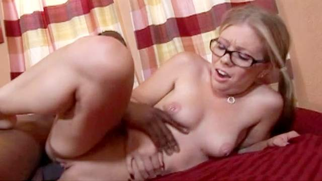 Big dick, Blonde, Blowjob, Couple, Cumshot, Glasses, HD, Interracial, Jeans, Nerd, Pierced nipples, Pigtails, Pussy licking, Reverse cowgirl, Riding, Shaved pussy, Small tits, Teen, Young girl