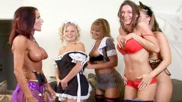 Five sexy babes are playing with their natural boobies