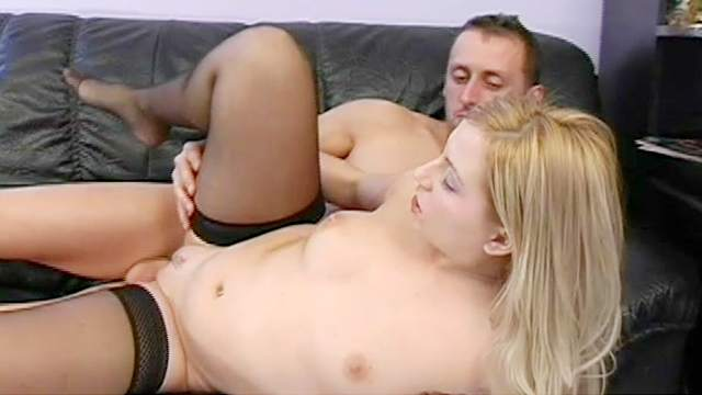 Blonde in stockings Gina Love is riding on the dick