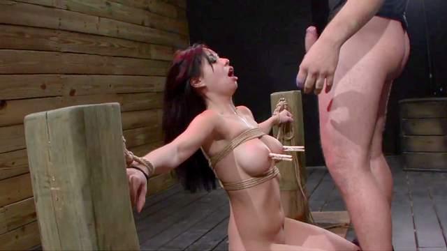 BDSM, Bondage, Brunette, Clothespins, Couple, Facial, Hardcore, HD, Tied