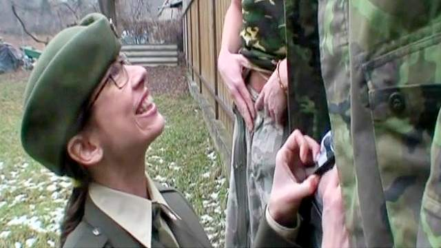 Blowjob, Brunette, Bukkake, Cum swallow, Doggy style, Glasses, HD, Military, Ponytail, Riding, Saggy tits, Story, Uniform