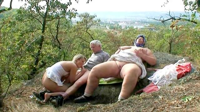 Beauty, Blonde, Blowjob, Fat, FFM, Granny, Nature, Old and young, Old man, Outdoor, Riding, Standing, Threesome, Ugly, Young girl