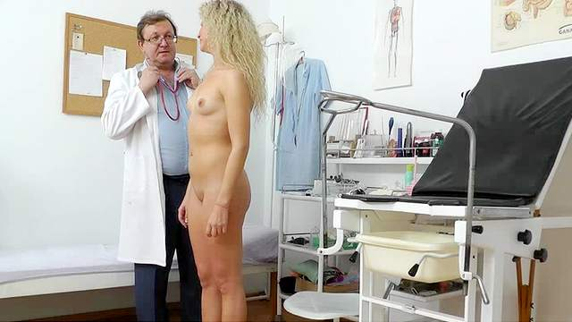Blonde, Couple, Curly, Doctor, Gyno, Hospital, Medical, Medical chair, Small tits