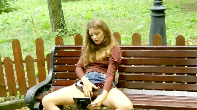 Hairy, Jeans, Masturbation, Outdoor, Park, Public, Self, Skirt, Solo girl, Teen, Vibrator, Young girl