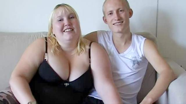 Bed, Big tits, Blonde, Blowjob, Cumshot, Doggy style, Fat, Missionary, Shaved pussy