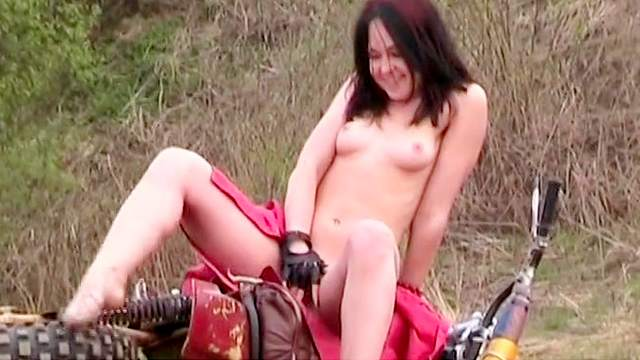 Bike, Brunette, European, Gloves, Natural tits, Outdoor, Solo, Young girl