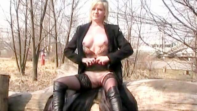 Blonde, Boots, European, Flashing, Glasses, Natural tits, Outdoor, Public, Solo, Stockings, Young girl