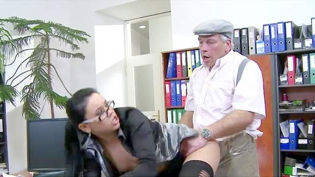 Blouse, Blowjob, Desk, Doggy style, Facial, Glasses, Long hair, Office, Old man, Ponytail, Pussy licking, Small tits, Spread legs, Stockings, Stroking, Young girl