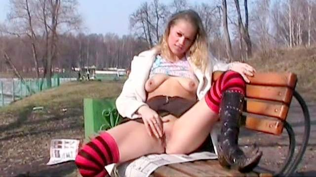 Masturbation, Natural tits, Outdoor, Park, Perfect body, Public, Shaved pussy, Solo, Stockings