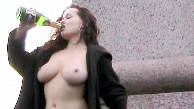 Brunette, Curly, Flashing, Natural tits, Public, Shaved pussy, Solo, Stockings