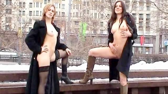 Amateur, Flashing, Masturbation, Natural tits, Outdoor, Shaved pussy, Stockings