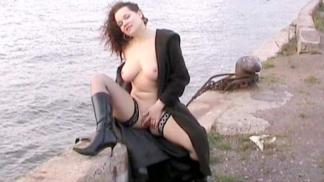 Big tits, Brunette, Curly, Flashing, Masturbation, Outdoor, Perfect body, Shaved pussy, Solo, Stockings