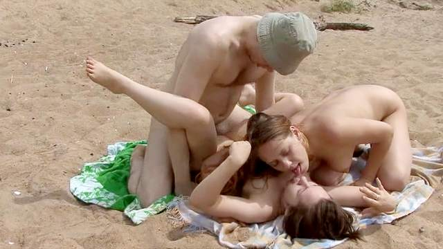 Amateur FFM scene with two cuties