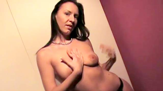 Bra, Brunette, Fingering, Long hair, Masturbation, MILF, Natural tits, Orgasm, Shaved pussy, Solo, Spread legs, Standing, Stretching