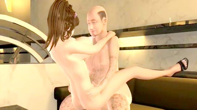 3D Animation, Big tits, Facial, Riding, Shaved pussy, Standing, Titjob