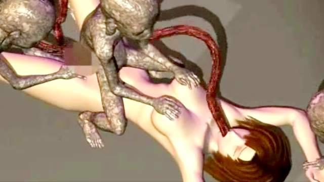 3D Animation, 3D Monster, Big tits, Blowjob, Fingering