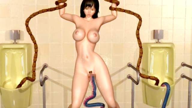 3D Monster, Big tits, Brunette, Cum on tits, Monster, Standing, Tentacle, Trimmed pussy