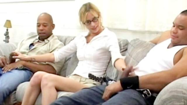 Black, Blonde, Blouse, Blowjob, Doggy style, Facial, Interracial, Masturbation, MILF, MMF, Natural tits, Orgasm, Pickup, Pigtails, Reverse cowgirl, Spread legs, Threesome, White