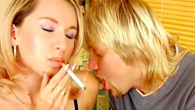 Bed, Blonde, Blowjob, Couple, Doggy style, Facial, Pussy licking, Reverse cowgirl, Small tits, Smoking, Sofa, Young girl
