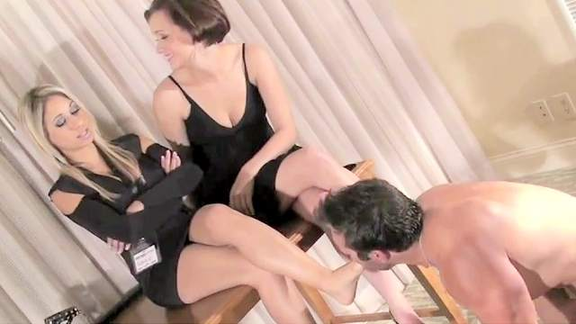 CFNM, FFM, Foot fetish, Footjob, MILF, Slave, Threesome