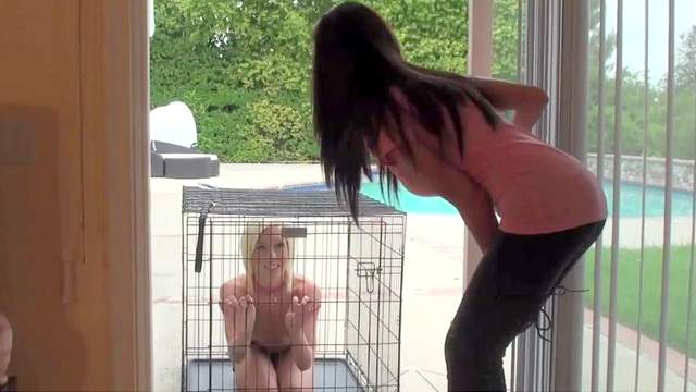 Cage, Femdom, Slave, Spanking, Whip, Young girl