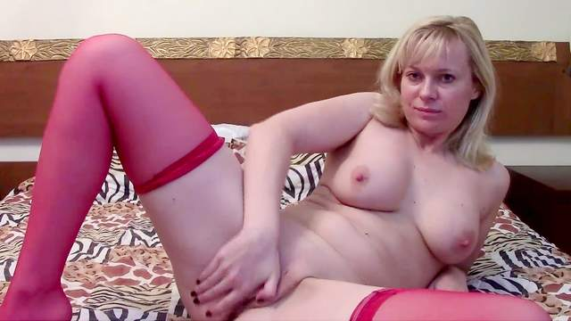 Bed, Blonde, Lingerie, Masturbation, Mom, Natural tits, Shaved pussy, Stockings, Webcam