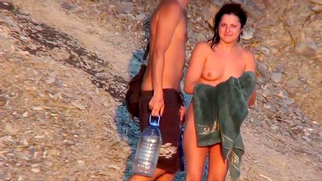 Beach, Body paint, Kissing, Nudist, Outdoor, Voyeur