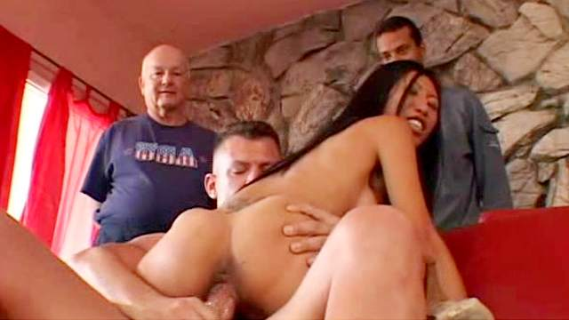Asian, Blowjob, Couple, Fake tits, Long hair, MILF, Orgasm, Reverse cowgirl, Riding, Shaved pussy, Sofa, Watching