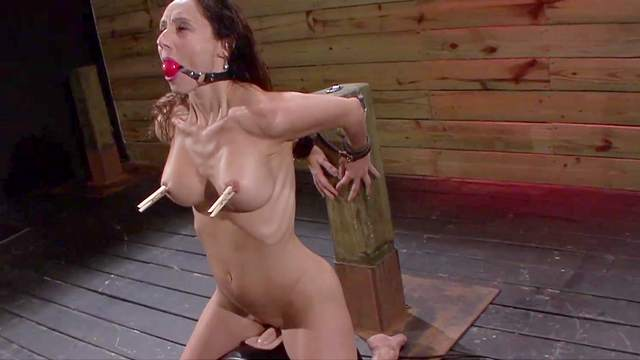 Ball gag, BDSM, Brunette, Clothespins, Couple, Cum in mouth, Deepthroat, Hardcore, HD, Tied