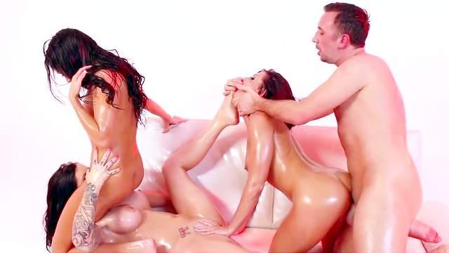 Adriana Chechik, Karmen Karma and Megan Rain extreme cock sharing