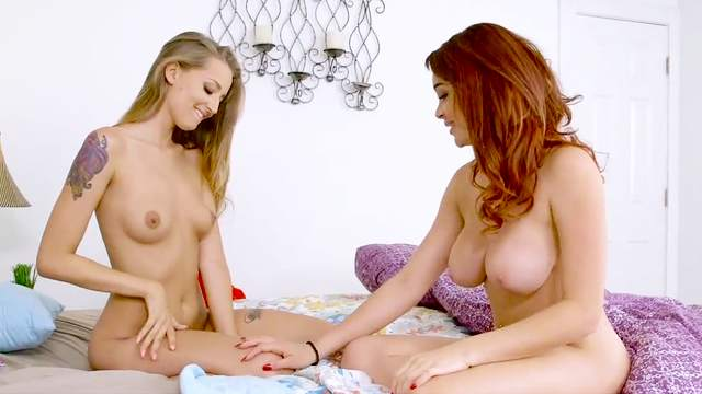 Lesbo passion in bed along nude Avery Adair and Skyla Novea