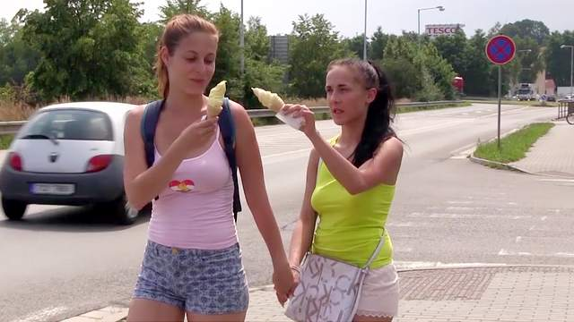 Busty teen babes in sexy outdoor lezzie romance