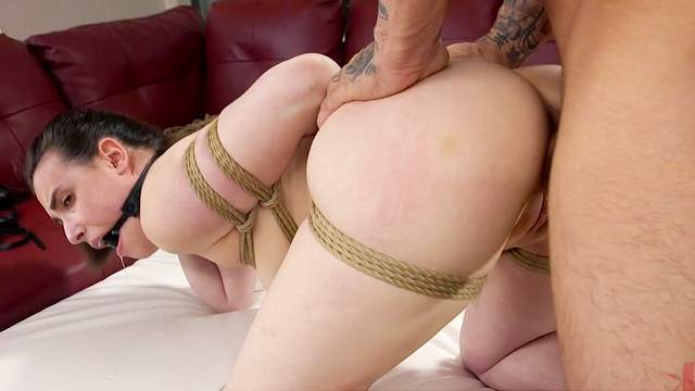 Man's huge dick slides into her helpless dick while she struggles to gag