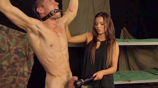 Sinister, sexy Domme fucks her bound male slave's tight ass